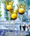Amber Glass Stemmed Holders