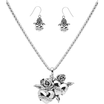 Love Necklace and Earrings Set